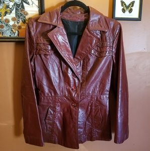 🍄 Vintage 70's Fitted Leather Jacket